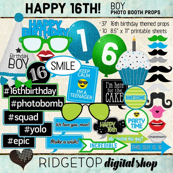 Happy 16th Birthday Gift Ideas Spaceform Sweet Sixteen: Photo Booth Props HAPPY 16TH BIRTHDAY Boy Printable Sheets