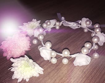 White little bridesmaids headband for girls