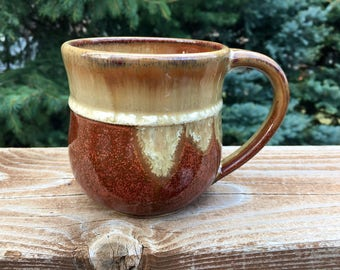 Handmade, Stoneware, Pottery, Wheel-Thrown, Two-Tone, 16 Ounce Mug