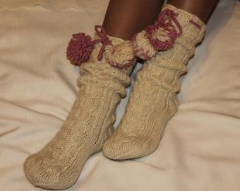 Hand knit socks. Warm socks handmade. Knitted socks. Wool socks  women.