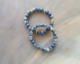 Labradorite Bracelet - Stretch Bracelet - Labradorite - Beaded Bracelet