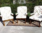 Vintage Summer House Chairs Conservatory Easy Chairs Retro Easy Arm Chairs