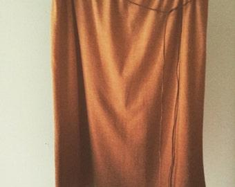 90s golden brown ombré maxi skirt knee length skirt boho skirt small medium