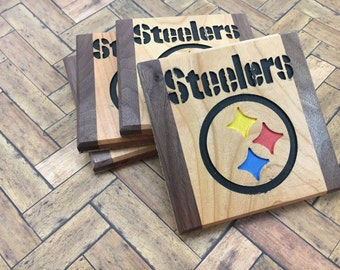 Steelers Drink Coasters Cherry and Walnut - Set of 4