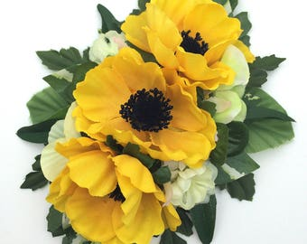 Handmade Vintage Style Yellow Anemone Hair Flower Clip