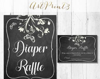 Diaper Raffle Printable Baby Shower Game, Floral Baby Shower Diaper Raffle Card, Rustic Baby Shower Card, Instant Download Baby Shower Game