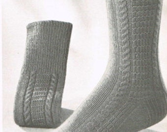 Vintage Sock Knitting Pattern for Men and Women - Retro Socks - PDF knitting pattern - Knitting patterns for women - - Cable and Bar sock