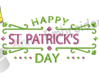 Happy St. Patrick's Day Embroidery Design-Lucky-Irish-Machine Patterns-Instant Download