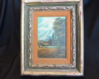 Framed Oil on Board, Mountain Scene, 5 x 7, Signed, Shabby