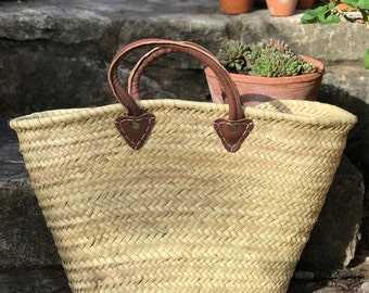 X-Large Straw Beach Tote French Market Basket with leather