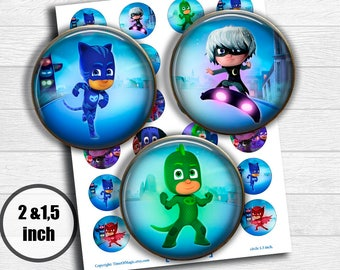 "PJ Masks Digital Collage Sheet 2"" 1.5"" circle clipart Printable Image Download for favor magnets cupcake toppers birthday"