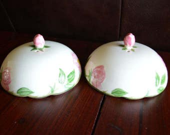 Pair of Franciscan Desert Rose Toast Covers Egg Warmers