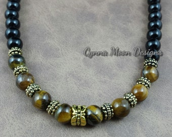 Tiger Eye & Black Jasper Necklace