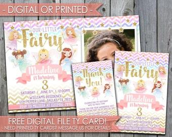 Fairy Invitation, Fairy Invite, Fairy Birthday Invitation, Fairy Party Invitation, Pink and Gold, Flowers #353