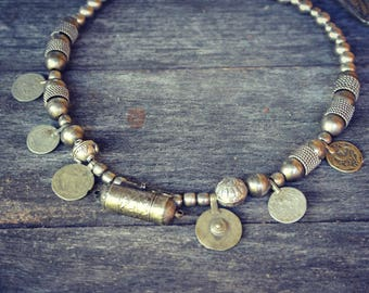 kuchi Tribal Necklace Coins Rajasthan Jaipur Odissi Hippie Nomad Gipsy Ethnic Beads Bohemian