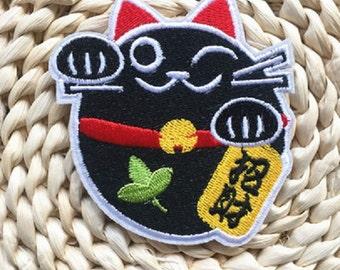 Maneki Neko Japanese Fortune Cat EMBROIDERED Patches Iron-on Applique Sewing Scrapbook Photo Album