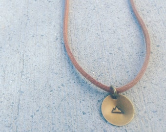 Leather Necklace, Circle Pendant, Indy Necklace, Mountain, Hand-Stamped, Explore, Leather Chain