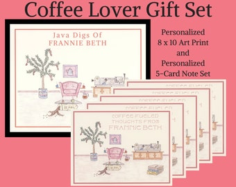 Personalized Coffee Gifts, Coffee Gifts, Gift Sets, Personalized Gift Sets, Coffee Lover, Personalized Note Card Set, Coffee Cards