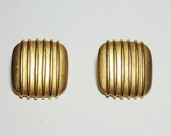 Vintage Square Erwin Pearl Clip Earrings Signed P.E.P./Gold Modernist Button Earrings Vintage 1980 Erwin Pearl Designer Earrings