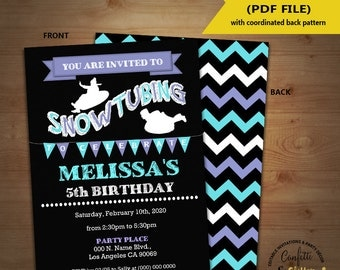 Snow tubing birthday invitation sledding tubing party invite chalkboard Instant Download YOU EDIT TEXT and print yourself invite 5577