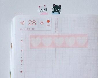 Heart shape woodcut style pink washi tape