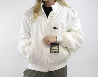 Brand New With Tags Vintage 80s Members Only White Jacket - Rare Dead Stock Members Only Zip Up Jacket - Sz 42