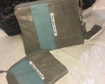 Handmade light gray leather wristlet set