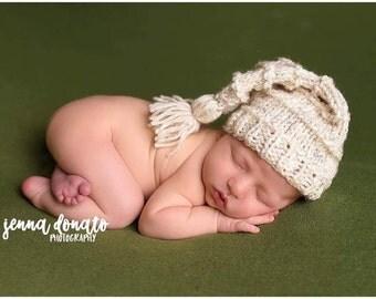 Knit Sleepy Hat, Knit Sleepy Cap, Sleepy Stocking Hat with Tassel, Baby Elf Hat, Long Tailed Hat, Newborn Tassel Hat, Knit Baby MADE 2 ORDER