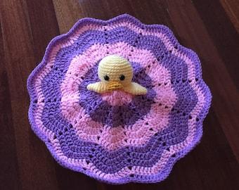 Crochet Duck Lovey, Security Blanket