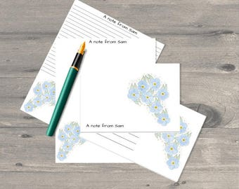 Printable watercolour Forget Me Not letter writing set, letter writing paper set, letter writing stationary,printable letter writing paper