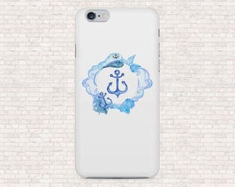 White and blue nautical phone case - anchor phone case - iPhone 6, iPhone 6s, iPhone 6plus, iPhone 7plus, iPhone 5, Galaxy S7, OnePlus 3T