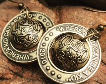 Brass Chuck E Cheese Token Earrings with Domed Inset