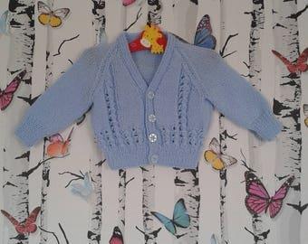 Boys Cardigan, 3 - 6 Months, Baby Boy, Knitted Cardigan, Handmade, Hand Knitted. Blue Cardigan