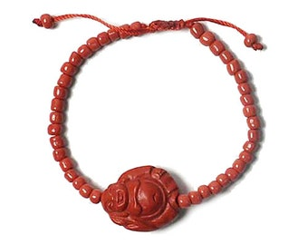 Dramatic Red Cinnabar Resin Buddha Bracelet