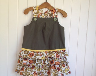 Size 2 Toddlers dress overall. Khaki Green with three vintage floral frills 100% cotton