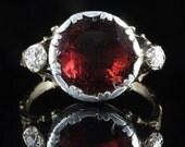 Antique Georgian Garnet Diamond Ring 18ct Gold Flat Top Garnet