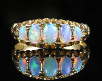 Antique Victorian Opal Ring Five Stone Circa 1880