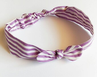 Hair band for girl or Mama lavender and white stripes