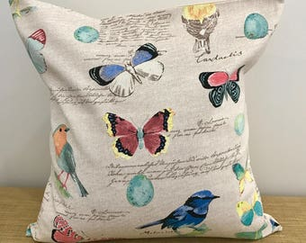 "Butterfly, Bird and French Script Taupe Linen Fabric Cushion Cover Throw Pillow. 18""/20"". Made Australia."