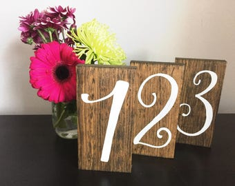 Wedding Table Numbers Rustic Wood