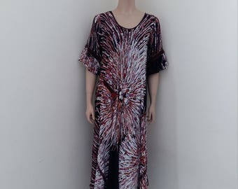 Womens day dress in burst of browns, white and a touch of fuschia soft cotton fabric.