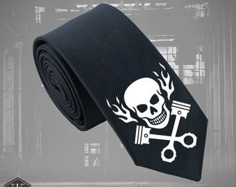 Piston Head Rock Silk Tie - Slim Tie - Wedding Tie, Christmas Gift, Fathers Day Gift, Rock Tie, Bike Tie Birthday Gift- FREE UK Shipping!