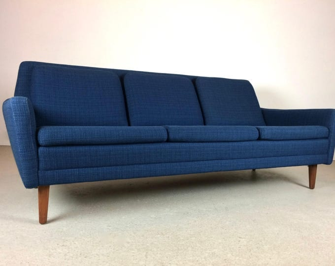 SOLD Mid Century Modern Blue Wool Folke Ohlsson for DUX Danish Style Sofa