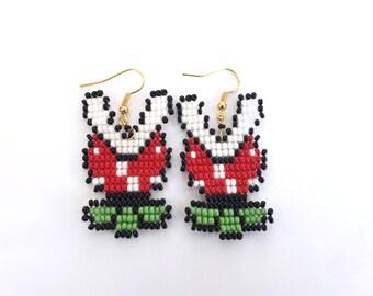 Mario piranha plant earrings super mario earrings piranha plant mario nintendo gifts piranha plant earrings nintendo jewelry