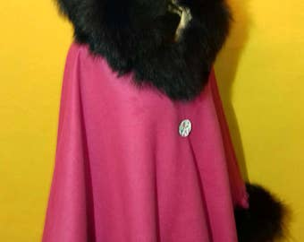 Wool /cashmere Poncho,cape, coat , shawl with real fox fur trim
