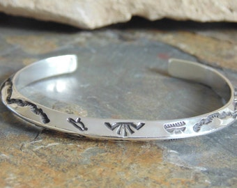 Lyonel Lewis ~ Navajo Sterling Silver Stamped Pointed Cuff Bracelet