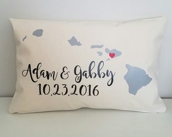Wedding Pillow | Personalized Throw Pillow | Wedding Gift | Anniversary Gift | Decorative Pillow | Hawaii Pillow | Choose Your Location
