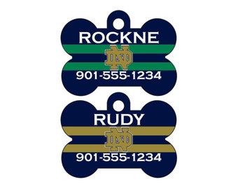 Notre Dame Fighting Irish Pet Id Tag for Dogs and Cats Personalized w/ Name & Number