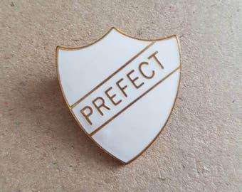 Vintage white enamel school prefect badge sheild