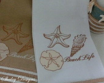 Beach Life Decorative Hand Towels/Hostess Gift/Cottage Towels/Seashells/Sand Dollar